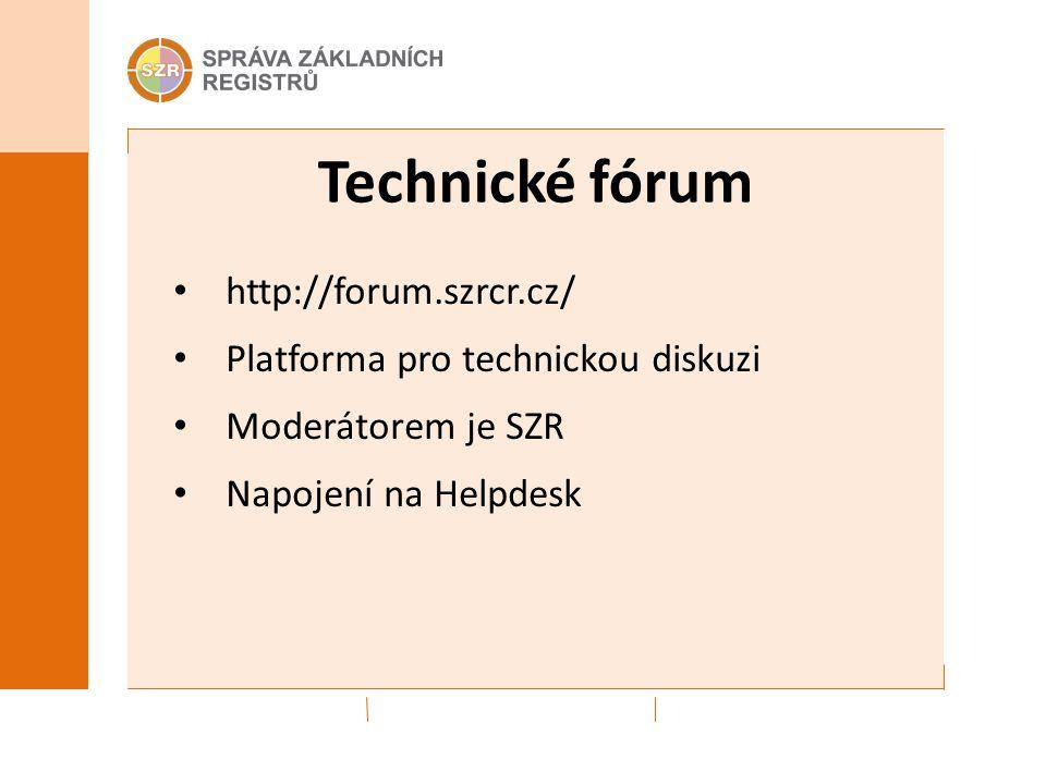 Technické fórum http://forum.szrcr.cz/ Platforma pro technickou diskuzi Moderátorem je SZR Napojení na Helpdesk