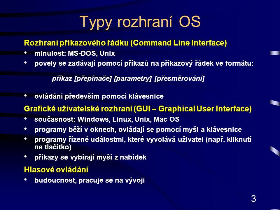 3 Typy rozhraní OS Rozhraní příkazového řádku (Command Line Interface) minulost: MS-DOS, Unix povely se zadávají pomocí příkazů na příkazový řádek ve formátu: příkaz [přepínače] [parametry] [přesměrování] ovládání především pomocí klávesnice Grafické uživatelské rozhraní (GUI – Graphical User Interface) současnost: Windows, Linux, Unix, Mac OS programy běží v oknech, ovládají se pomocí myši a klávesnice programy řízené událostmi, které vyvolává uživatel (např.