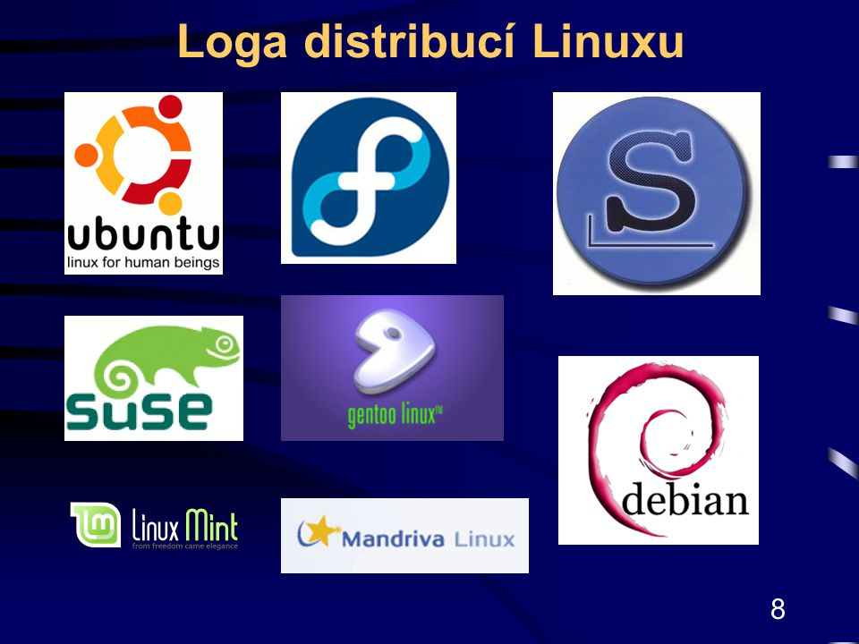 8 Loga distribucí Linuxu