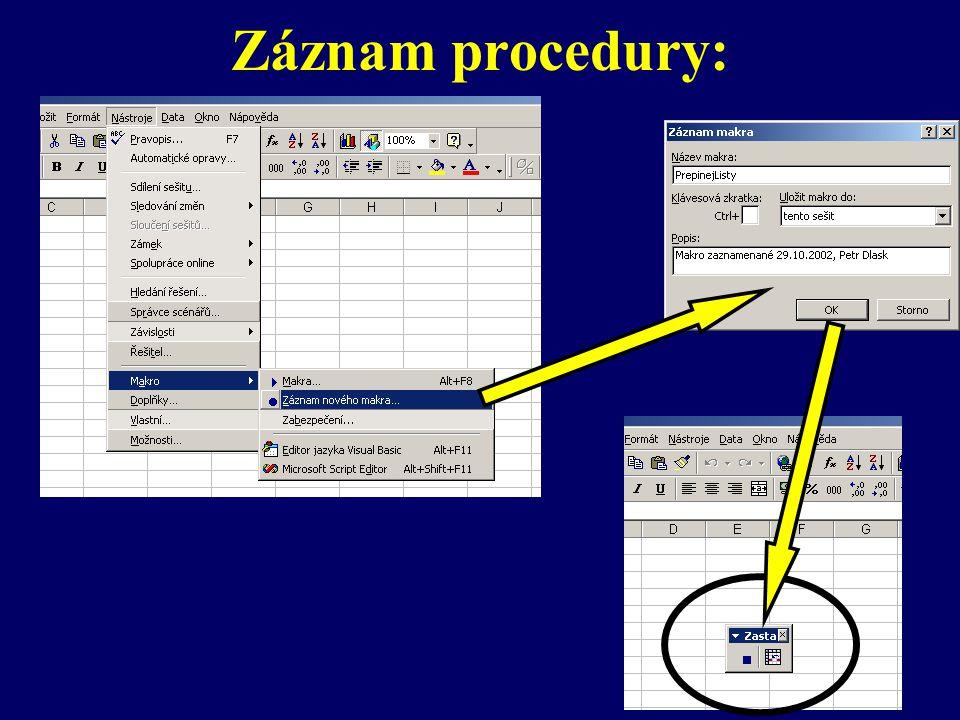 Záznam procedury: