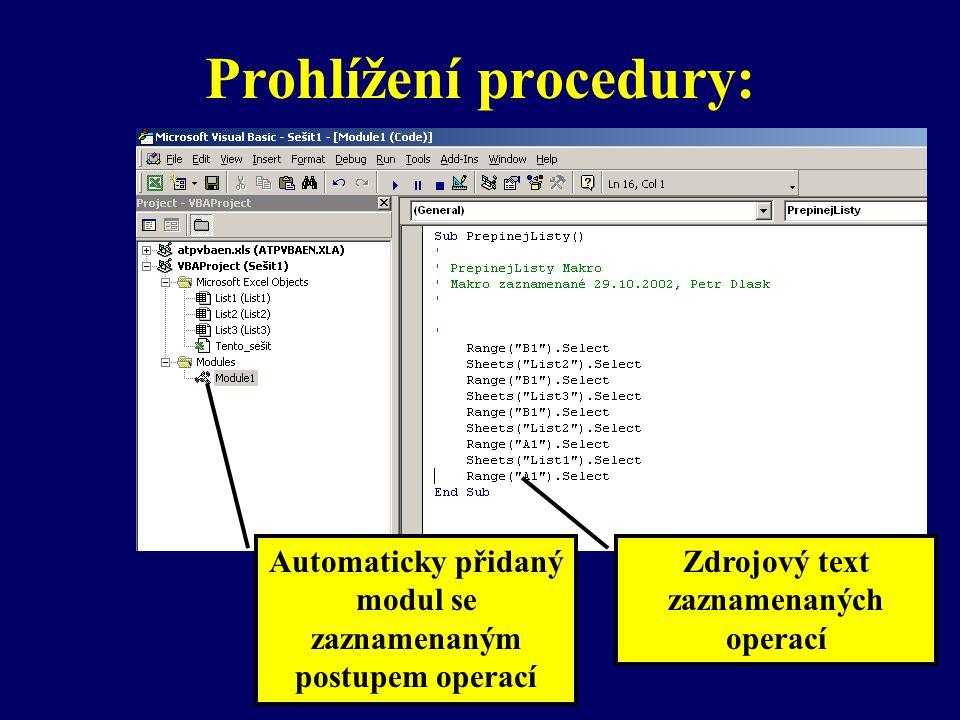 Spuštění procedury: