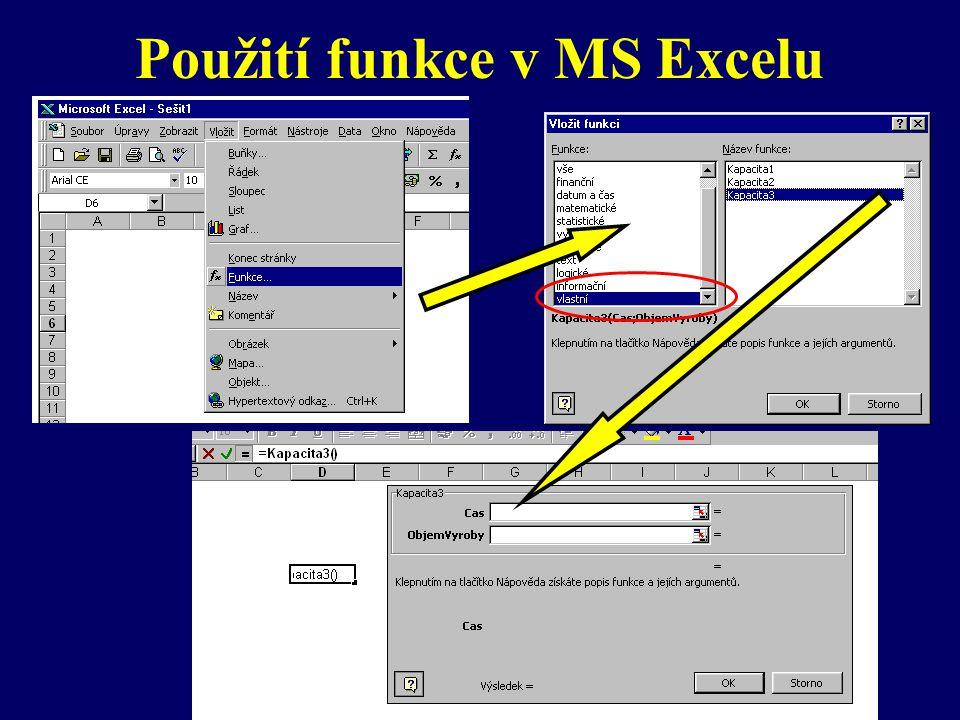 Rekapitulace tvorby a použití funkce: z menu Nástroje/Makro zvolit Editor VBA pojmenovat novou funkci zapsat definici vstupních parametrů a jejich typy zapsat typ funkce zapsat tělo funkce s použitím vstupních parametrů uvnitř funkce je možné se odkazovat na buňky pomocí Cells(ř,sl) návrat do MS Excel z menu Vložit/Funkce zvolit Vlastní doplnit požadované parametry