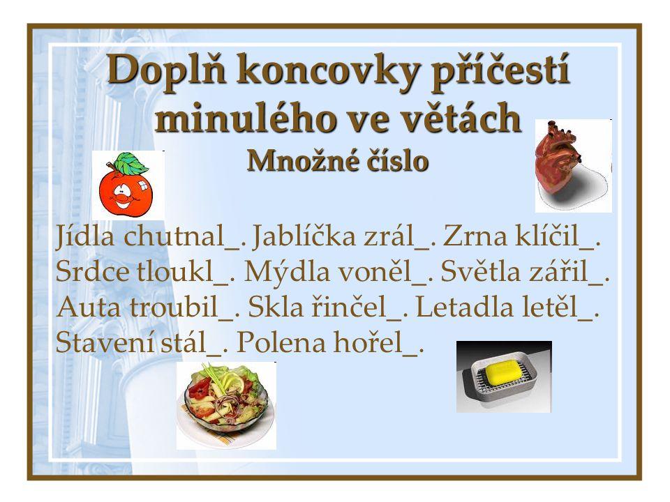 Doplň koncovky příčestí minulého ve větách Množné číslo: Řešení Jídla chutnala.