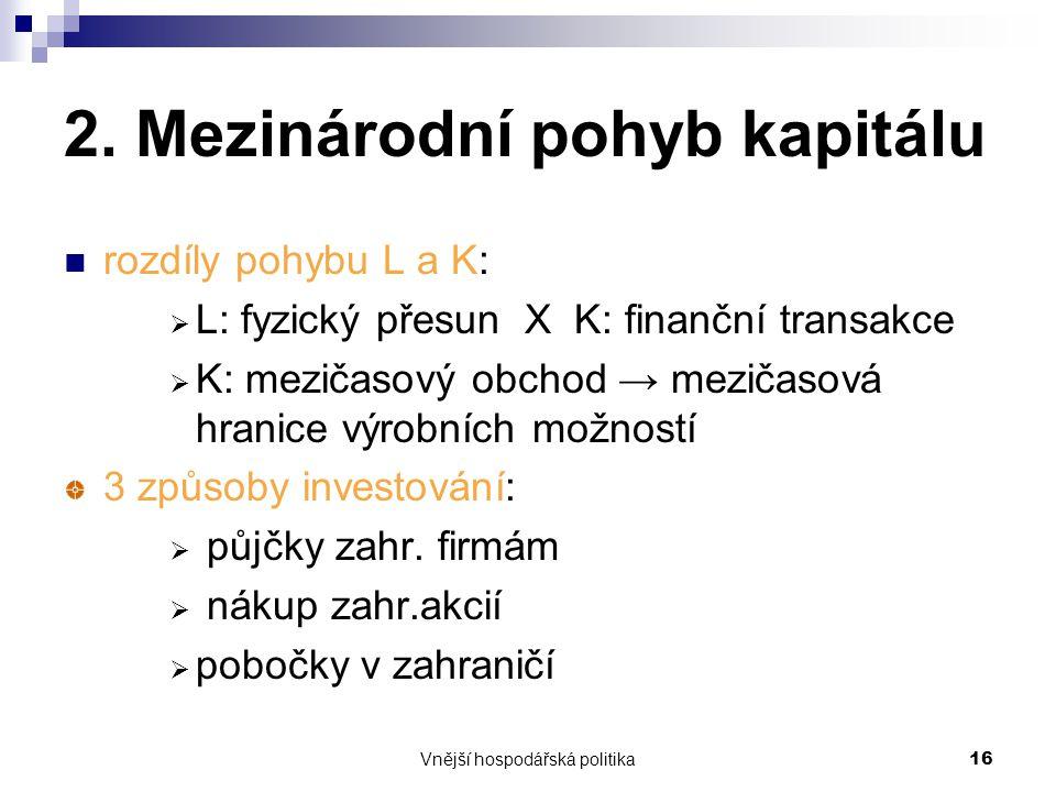 Vnější hospodářská politika16 2. Mezinárodní pohyb kapitálu rozdíly pohybu L a K:  L: fyzický přesun X K: finanční transakce  K: mezičasový obchod →