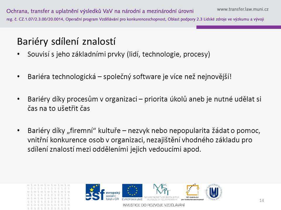 Bariéry sdílení znalostí Souvisí s jeho základními prvky (lidí, technologie, procesy) Bariéra technologická – společný software je více než nejnovější.
