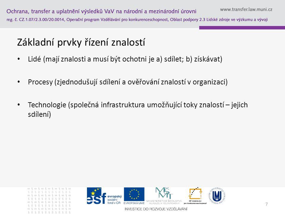7 Základní prvky řízení znalostí Lidé (mají znalosti a musí být ochotni je a) sdílet; b) získávat) Procesy (zjednodušují sdílení a ověřování znalostí v organizaci) Technologie (společná infrastruktura umožňující toky znalostí – jejich sdílení)