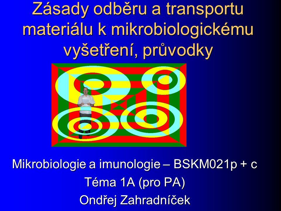 """Obecné zásady odběru a transportu infekčního materiálu Špatně provedený odběr či transport materiáluŠpatně provedený odběr či transport materiálu zbytečné trápení pacientazbytečné trápení pacienta zbytečně vyhozené prostředky na vyšetřenízbytečně vyhozené prostředky na vyšetření Lapidárně řečeno: Lépe pacientovi zastrčit výtěrovku jednou hluboko do řiti, než ji opakovaně zbytečně """"šmrdolit v ústí otvoru."""
