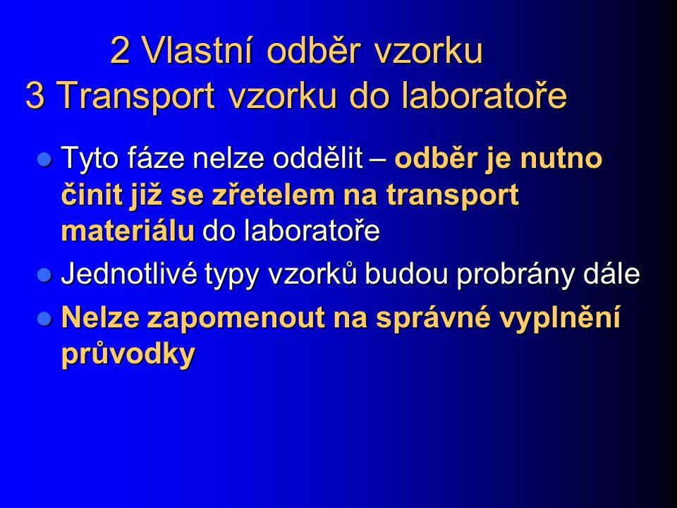 2 Vlastní odběr vzorku 3 Transport vzorku do laboratoře Tyto fáze nelze oddělit – odběr je nutno činit již se zřetelem na transport materiálu do labor