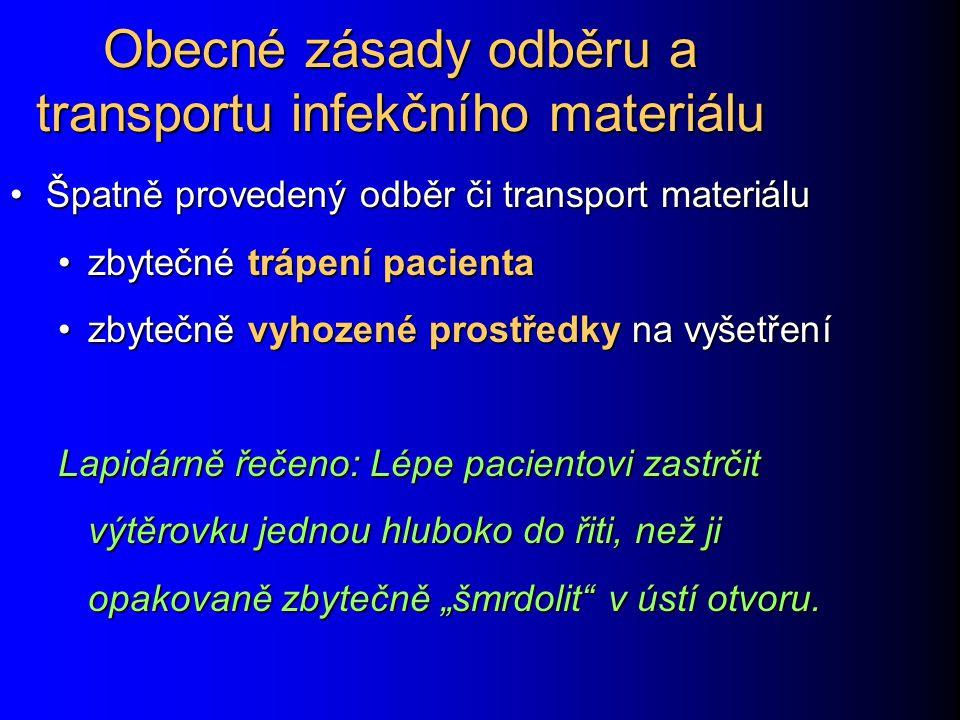 """Odběry u hnisavých infekcí a infekcí ran V diagnostice hnisavých infekcí má vždy větší význam tekutý materiál (hnis) než pouhý výtěr z hnisavého ložiska V diagnostice hnisavých infekcí má vždy větší význam tekutý materiál (hnis) než pouhý výtěr z hnisavého ložiska U podezření na anaerobních infekci je nutno zajistit přežití anaerobů (viz dále) U podezření na anaerobních infekci je nutno zajistit přežití anaerobů (viz dále) Je nezbytné pečlivě vyplnit průvodku, nestačí """"stěr z rány , ale specifikovat původ rány i její lokalizaci na těle Je nezbytné pečlivě vyplnit průvodku, nestačí """"stěr z rány , ale specifikovat původ rány i její lokalizaci na těle Také důležité anamnestické údaje (návrat ze zahraničí, práce v zemědělství) je užitečné na průvodku uvést Také důležité anamnestické údaje (návrat ze zahraničí, práce v zemědělství) je užitečné na průvodku uvést"""