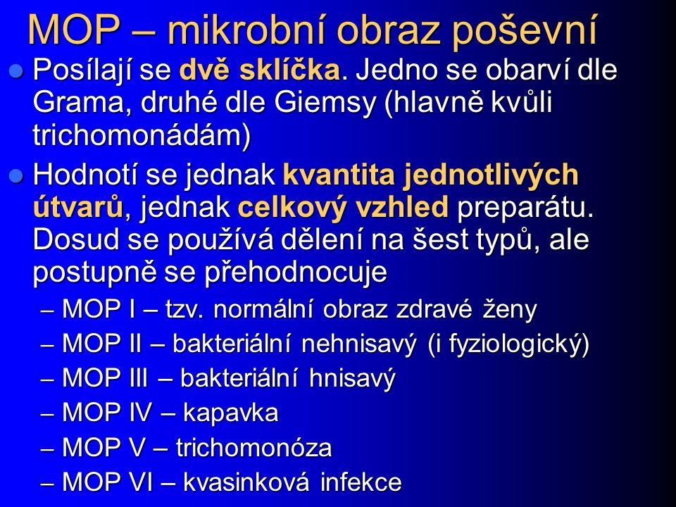 MOP – mikrobní obraz poševní Posílají se dvě sklíčka. Jedno se obarví dle Grama, druhé dle Giemsy (hlavně kvůli trichomonádám) Posílají se dvě sklíčka