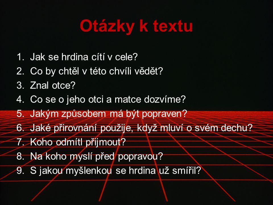 Otázky k textu 1.Jak se hrdina cítí v cele. 2.Co by chtěl v této chvíli vědět.