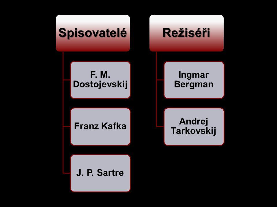 Spisovatelé F. M. Dostojevskij Franz KafkaJ. P. Sartre Režiséři Ingmar Bergman Andrej Tarkovskij