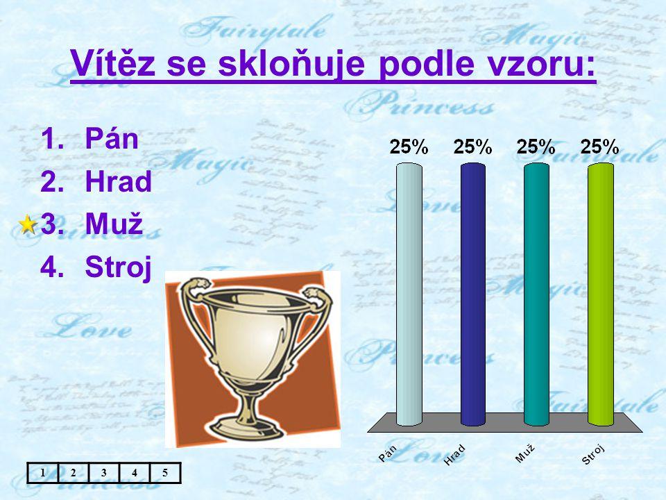 Vítěz se skloňuje podle vzoru: 1.Pán 2.Hrad 3.Muž 4.Stroj 12345