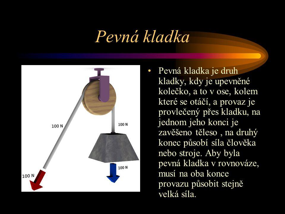 Pevná kladka Pevná kladka je druh kladky, kdy je upevněné kolečko, a to v ose, kolem které se otáčí, a provaz je provlečený přes kladku, na jednom jeh