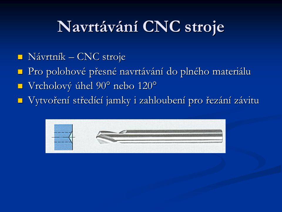 Navrtávání CNC stroje Návrtník – CNC stroje Pro polohové přesné navrtávání do plného materiálu Vrcholový úhel 90° nebo 120° Vytvoření středící jamky i