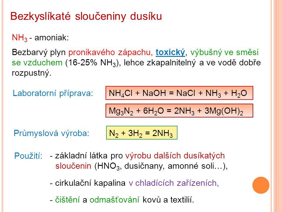 Bezkyslíkaté sloučeniny dusíku NH 3 - amoniak: Bezbarvý plyn pronikavého zápachu, toxický, výbušný ve směsi se vzduchem (16-25% NH 3 ), lehce zkapalni