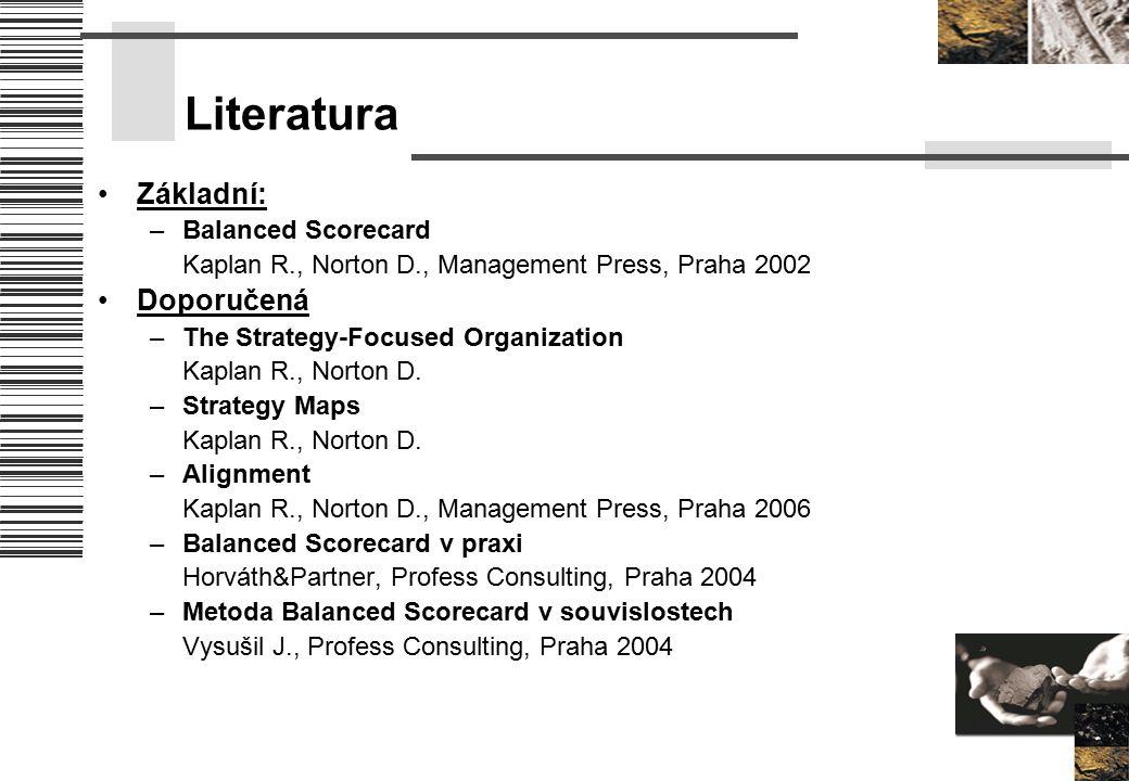Literatura Základní: –Balanced Scorecard Kaplan R., Norton D., Management Press, Praha 2002 Doporučená –The Strategy-Focused Organization Kaplan R., N