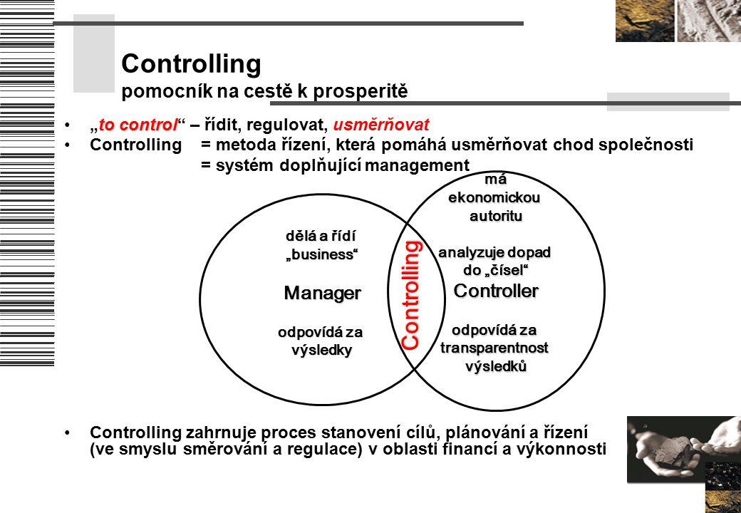 """Controlling pomocník na cestě k prosperitě to control""""to control"""" – řídit, regulovat, usměrňovat Controlling = metoda řízení, která pomáhá usměrňovat"""