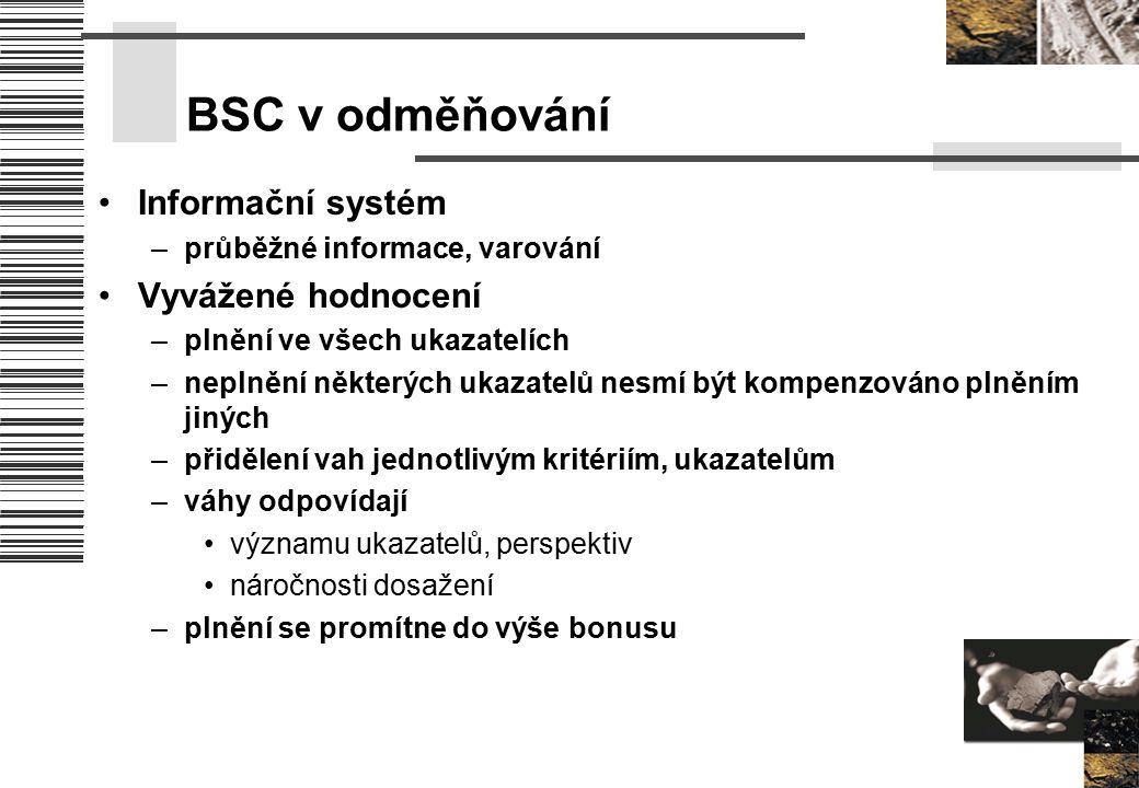 BSC v odměňování Informační systém –průběžné informace, varování Vyvážené hodnocení –plnění ve všech ukazatelích –neplnění některých ukazatelů nesmí b