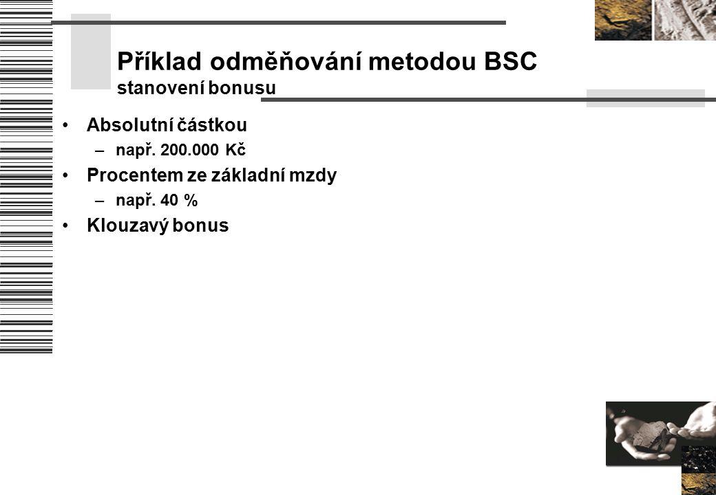 Příklad odměňování metodou BSC stanovení bonusu Absolutní částkou –např. 200.000 Kč Procentem ze základní mzdy –např. 40 % Klouzavý bonus