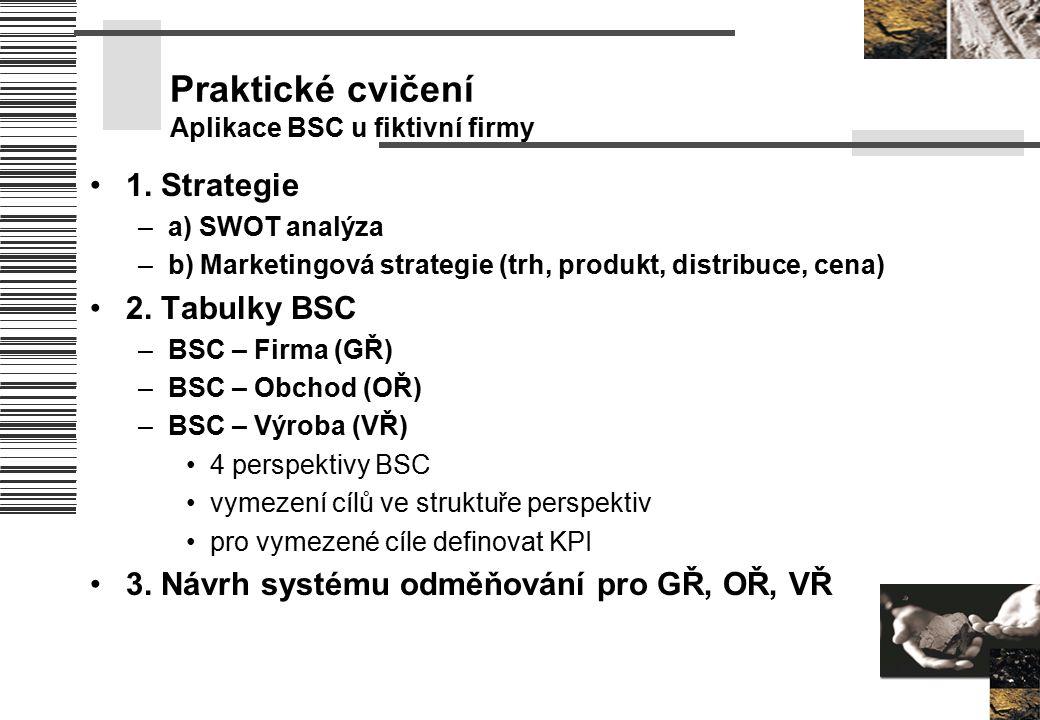 Praktické cvičení Aplikace BSC u fiktivní firmy 1. Strategie –a) SWOT analýza –b) Marketingová strategie (trh, produkt, distribuce, cena) 2. Tabulky B