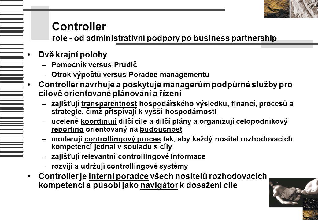 Controller role - od administrativní podpory po business partnership Dvě krajní polohy –Pomocník versus Prudič –Otrok výpočtů versus Poradce managemen