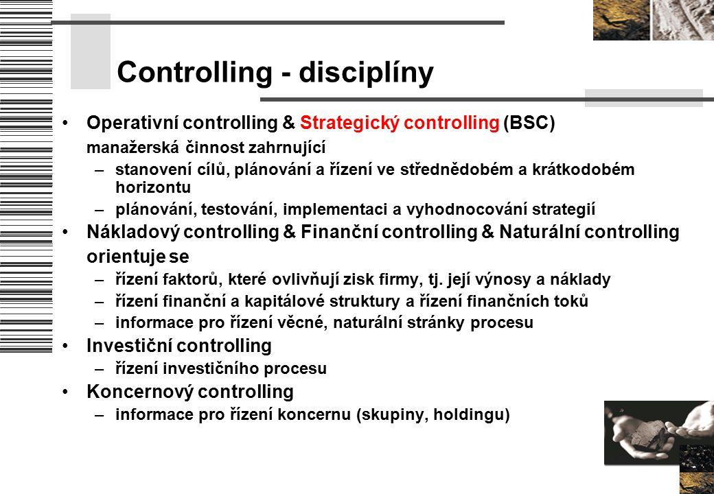 Controlling - disciplíny Operativní controlling & Strategický controlling (BSC) manažerská činnost zahrnující –stanovení cílů, plánování a řízení ve s