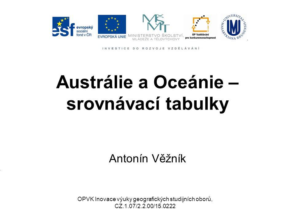 Austrálie a Oceánie – srovnávací tabulky Antonín Věžník OPVK Inovace výuky geografických studijních oborů, CZ.1.07/2.2.00/15.0222
