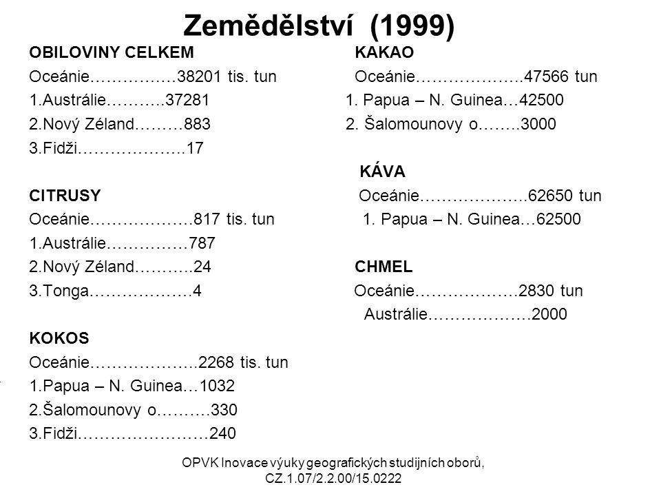 Zemědělství (1999) OBILOVINY CELKEM KAKAO Oceánie………….…38201 tis.