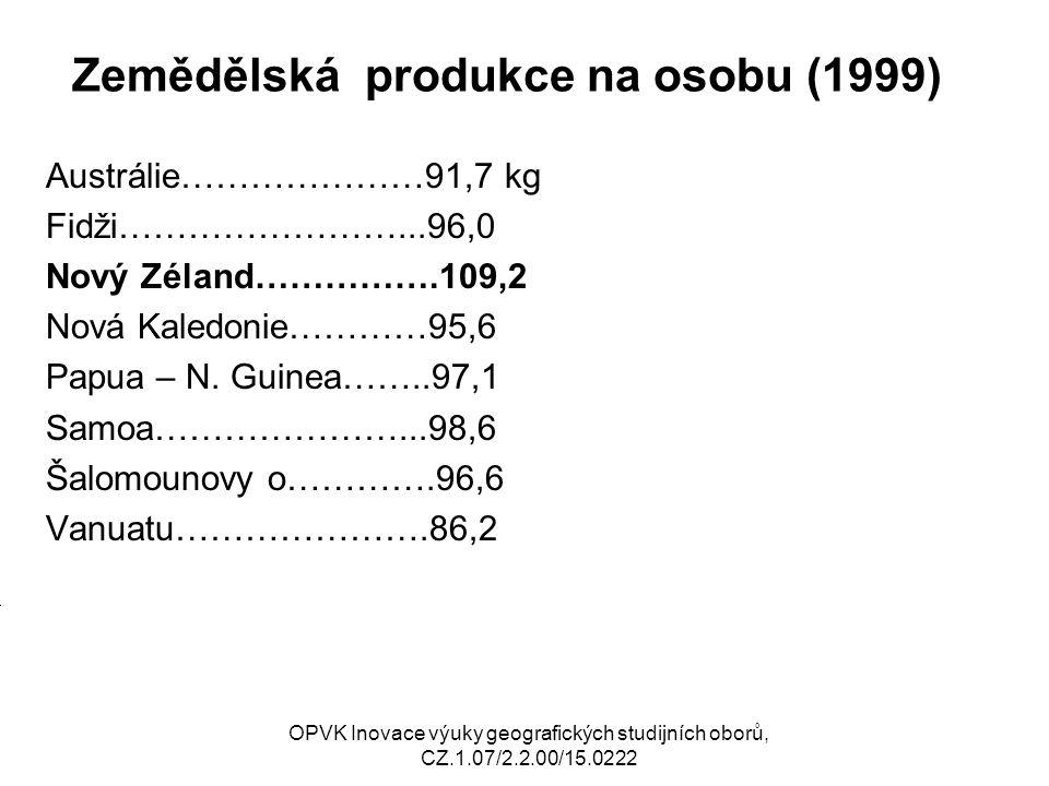 Zemědělská produkce na osobu (1999) Austrálie…………………91,7 kg Fidži……………………...96,0 Nový Zéland…………….109,2 Nová Kaledonie…………95,6 Papua – N.