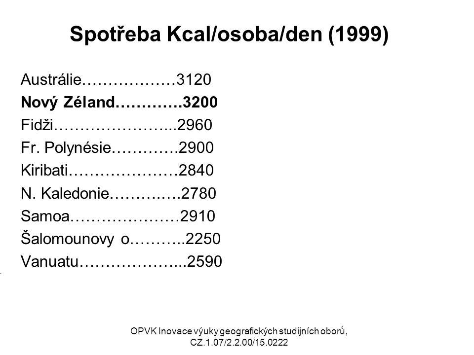 Spotřeba Kcal/osoba/den (1999) Austrálie………………3120 Nový Zéland………….3200 Fidži…………………...2960 Fr.
