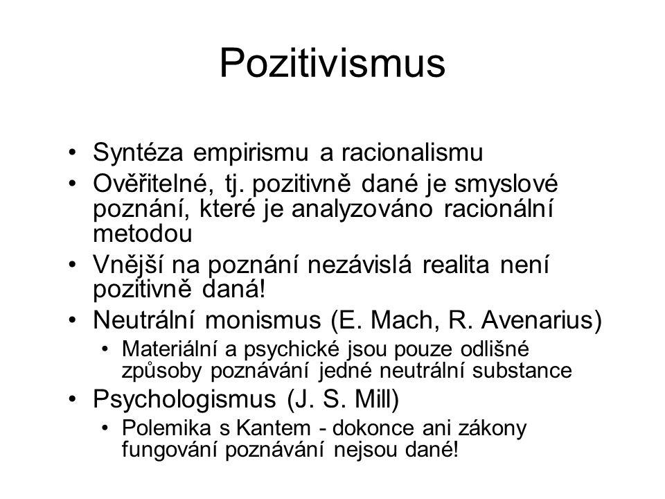 Pozitivismus Syntéza empirismu a racionalismu Ověřitelné, tj. pozitivně dané je smyslové poznání, které je analyzováno racionální metodou Vnější na po