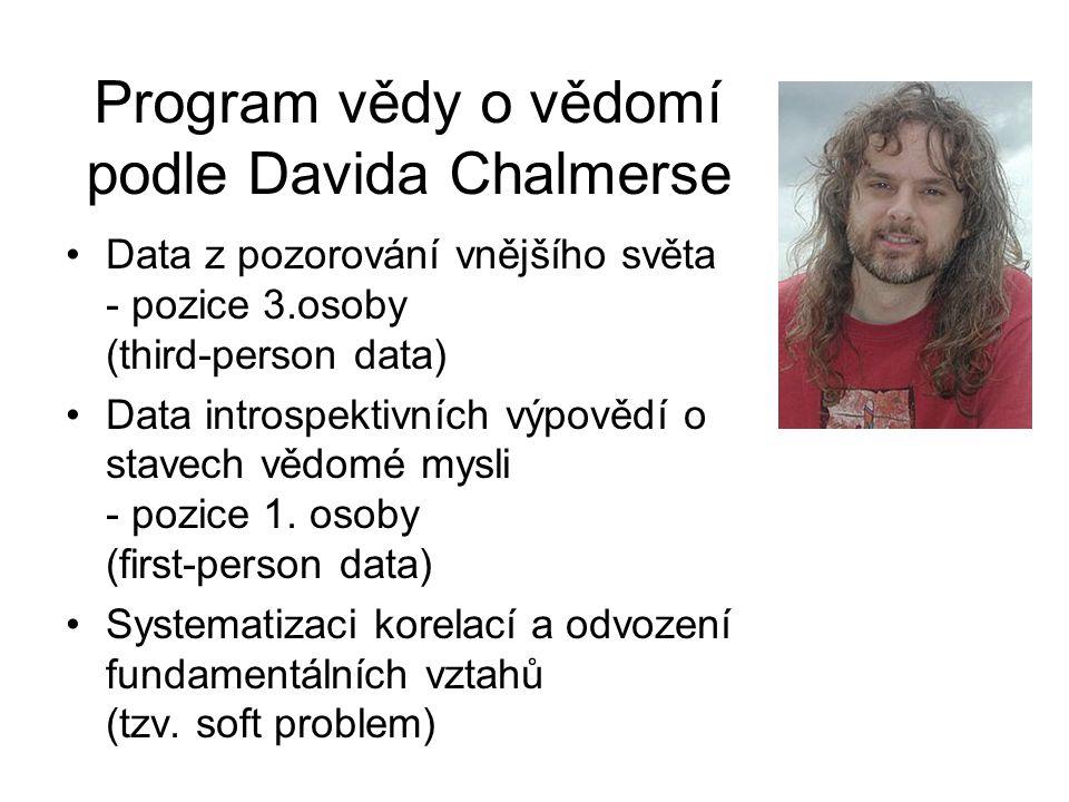 Program vědy o vědomí podle Davida Chalmerse Data z pozorování vnějšího světa - pozice 3.osoby (third-person data) Data introspektivních výpovědí o st