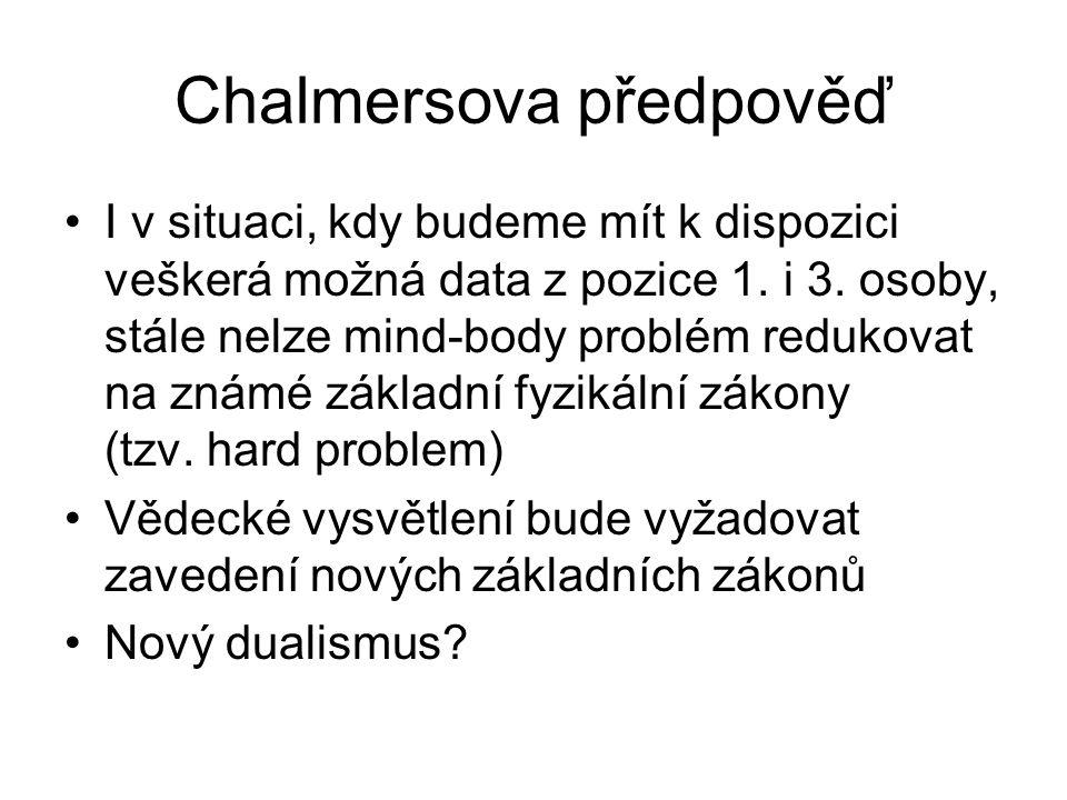 Chalmersova předpověď I v situaci, kdy budeme mít k dispozici veškerá možná data z pozice 1. i 3. osoby, stále nelze mind-body problém redukovat na zn