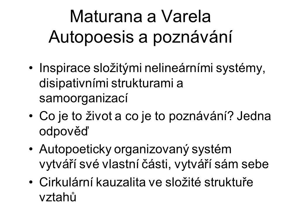 Maturana a Varela Autopoesis a poznávání Inspirace složitými nelineárními systémy, disipativními strukturami a samoorganizací Co je to život a co je t