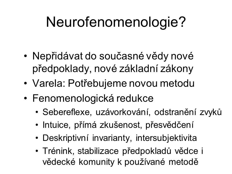 Neurofenomenologie? Nepřidávat do současné vědy nové předpoklady, nové základní zákony Varela: Potřebujeme novou metodu Fenomenologická redukce Sebere