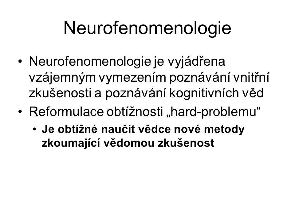 Neurofenomenologie Neurofenomenologie je vyjádřena vzájemným vymezením poznávání vnitřní zkušenosti a poznávání kognitivních věd Reformulace obtížnost