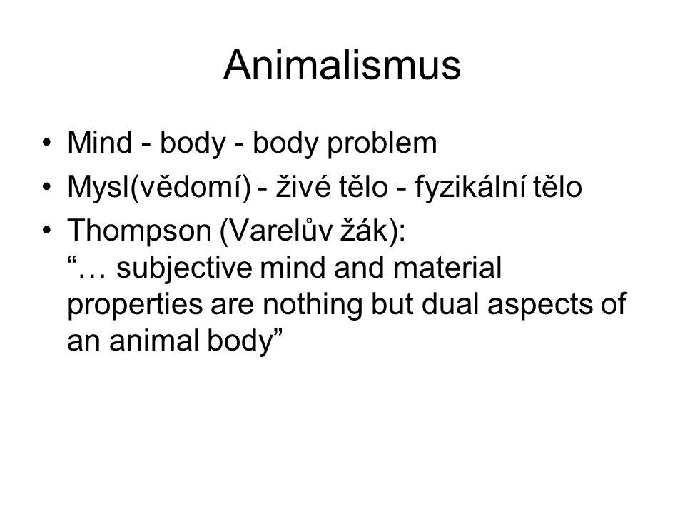 """Animalismus Mind - body - body problem Mysl(vědomí) - živé tělo - fyzikální tělo Thompson (Varelův žák): """"… subjective mind and material properties ar"""