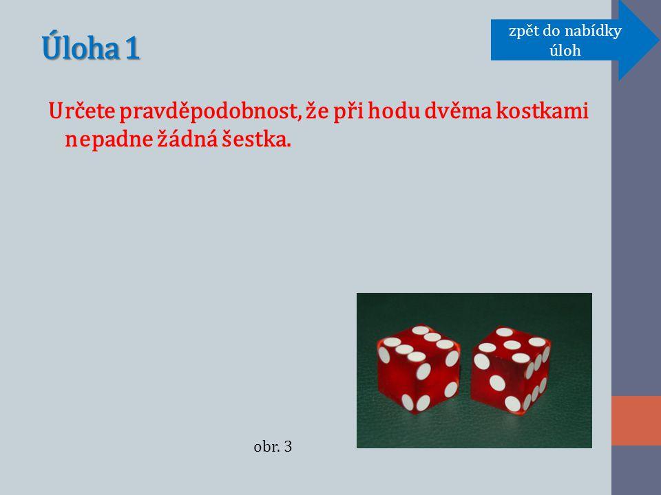 Úloha 1 Určete pravděpodobnost, že při hodu dvěma kostkami nepadne žádná šestka.