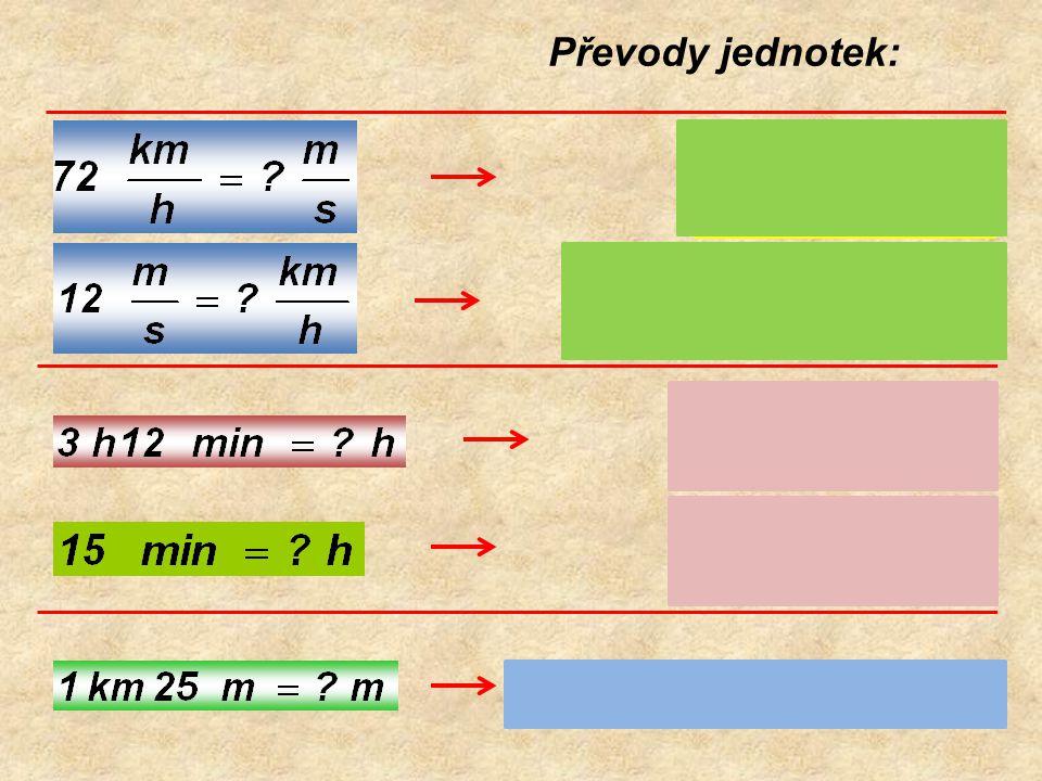 Za jak dlouho projde člověk po nástupišti délky 84 m, jede-li průměrnou rychlostí 7,2 km/h.