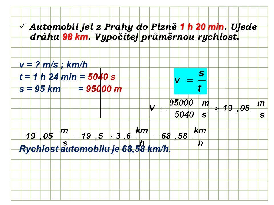 1 h 20 min 98 km Automobil jel z Prahy do Plzně 1 h 20 min.