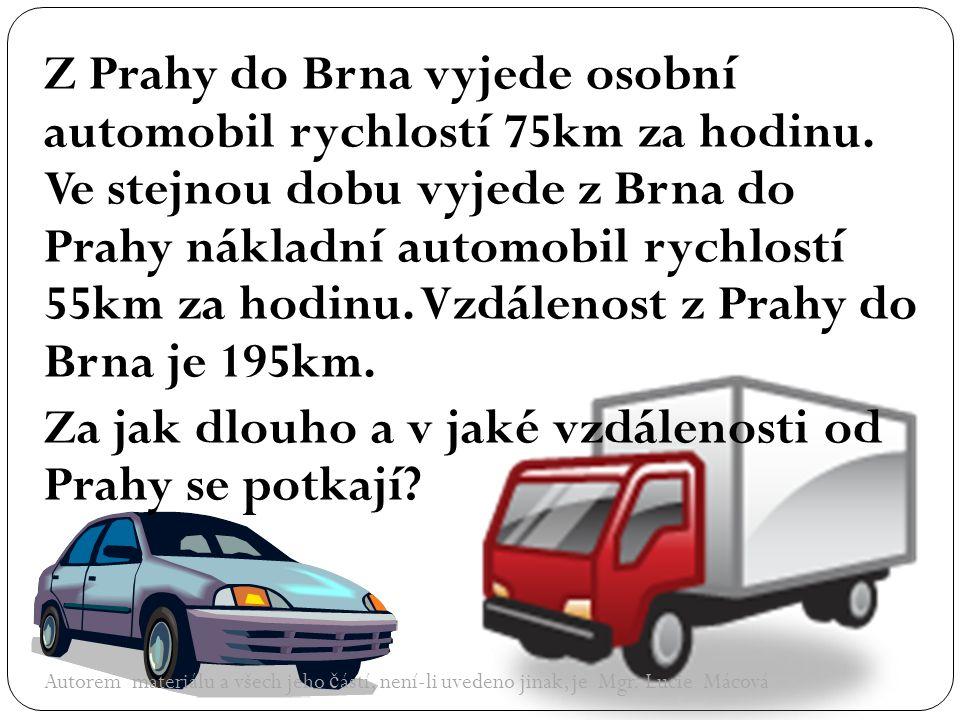 Z Prahy do Brna vyjede osobní automobil rychlostí 75km za hodinu.