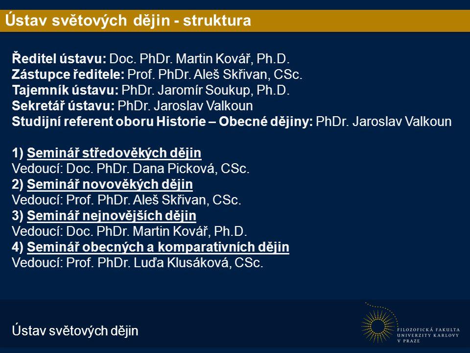 Ústav světových dějin - struktura Ředitel ústavu: Doc.