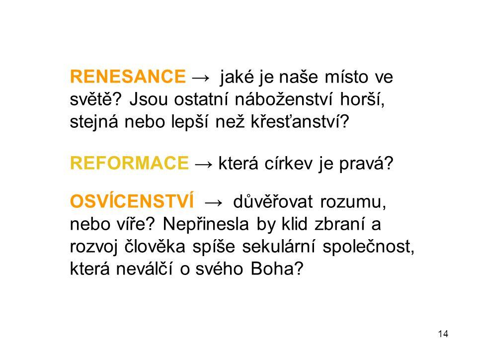 14 RENESANCE → jaké je naše místo ve světě.