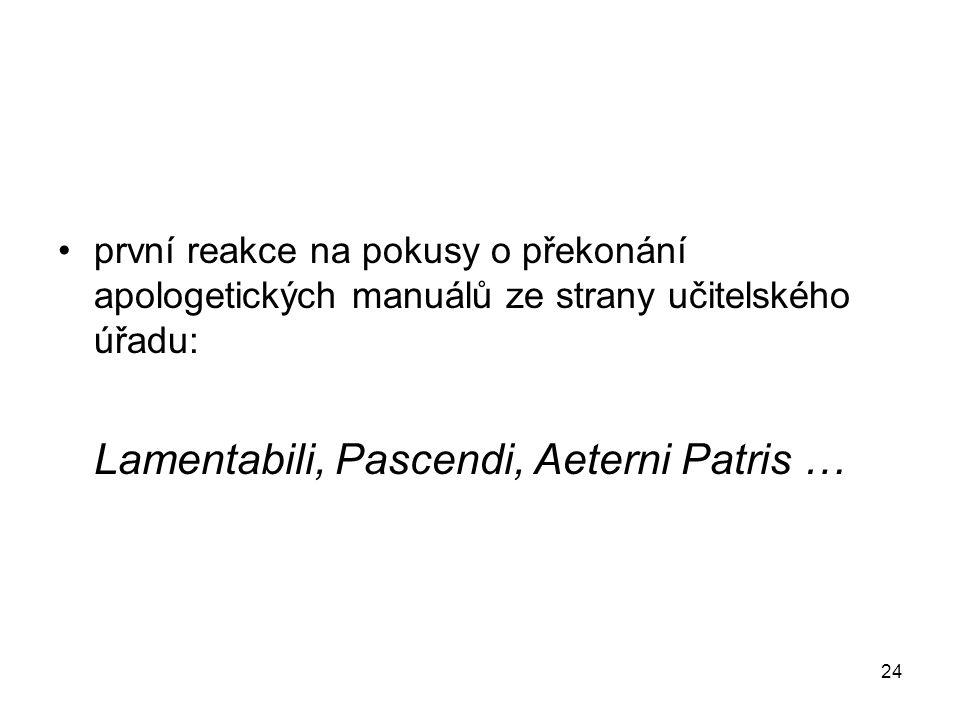 první reakce na pokusy o překonání apologetických manuálů ze strany učitelského úřadu: Lamentabili, Pascendi, Aeterni Patris … 24