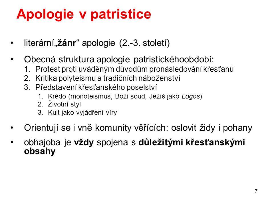 """7 Apologie v patristice literární""""žánr apologie (2.-3."""
