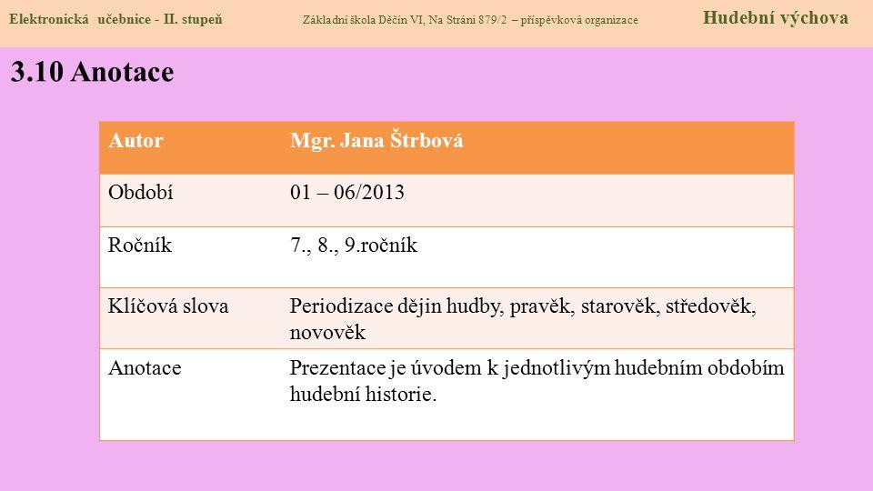 Elektronická učebnice - II. stupeň Základní škola Děčín VI, Na Stráni 879/2 – příspěvková organizace Hudební výchova 3.10 Anotace AutorMgr. Jana Štrbo