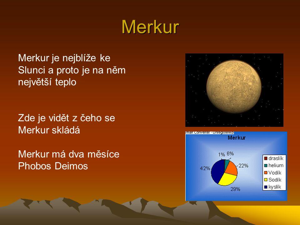 Merkur Merkur je nejblíže ke Slunci a proto je na něm největší teplo Zde je vidět z čeho se Merkur skládá Merkur má dva měsíce Phobos Deimos