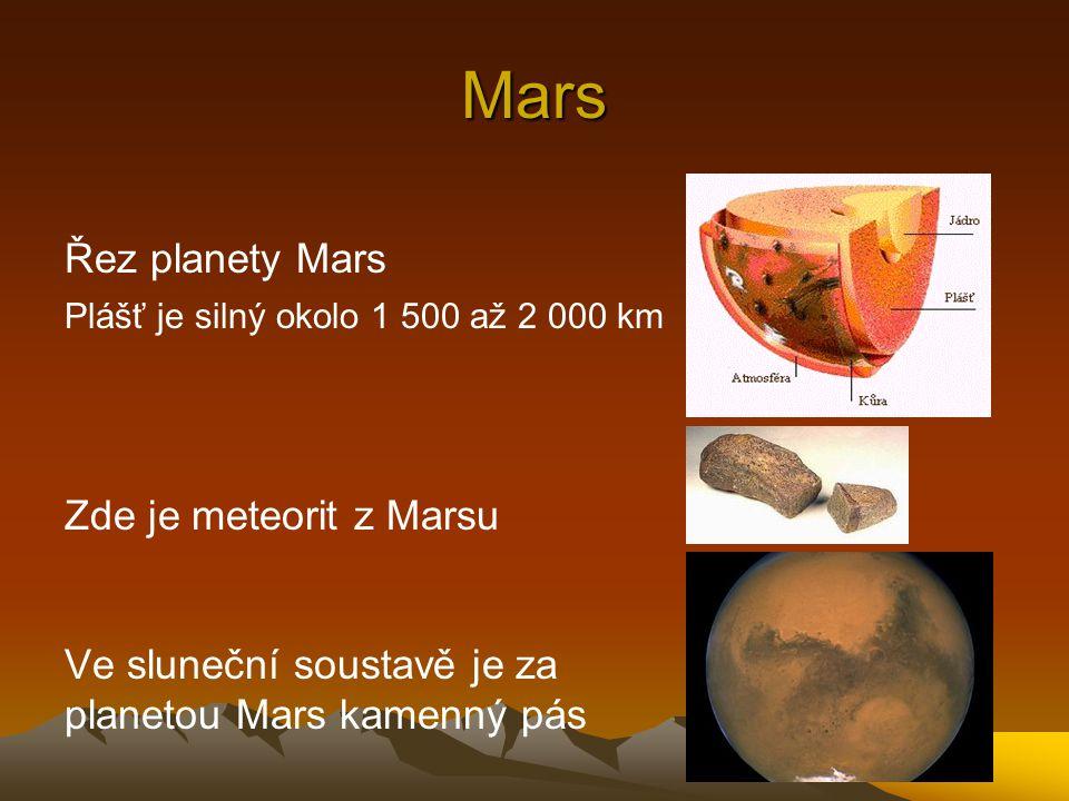 Mars Řez planety Mars Plášť je silný okolo 1 500 až 2 000 km Zde je meteorit z Marsu Ve sluneční soustavě je za planetou Mars kamenný pás