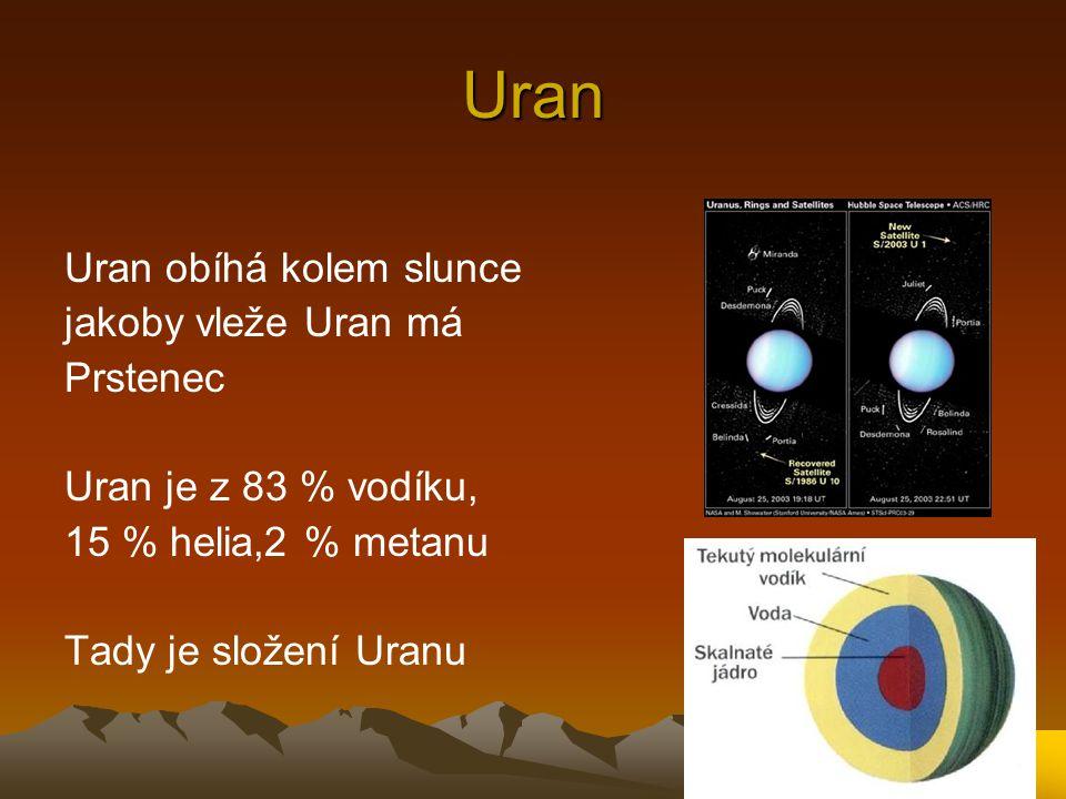 Uran Uran obíhá kolem slunce jakoby vleže Uran má Prstenec Uran je z 83 % vodíku, 15 % helia,2 % metanu Tady je složení Uranu